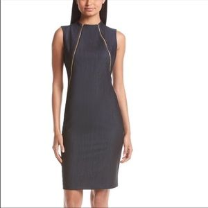 Calvin Kline Blue Sheath Dress with Zippers